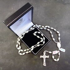 White Mother of Pearl rosary beads on sterling silver chain and cross in box