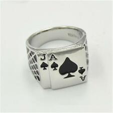 5pc  Stainless Steel 18mm Ace Of Spades Playing Card Ring Casino Silver HOT YC