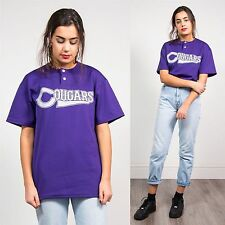 RETRO WOMENS BASEBALL SOFTBALL JERSEY TOP USA SPORTS COUGARS PURPLE CASUAL 12