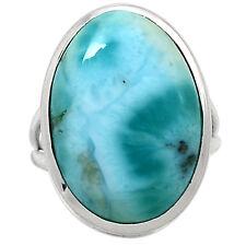 Larimar - Dominican Republic 925 Sterling Silver Ring Jewelry s.8 LRIR663