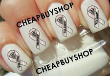Top Quality《LUNG CANCER AWARENESS PEARL RIBBON》Tattoo Nail Art Decals》NONTOXIC
