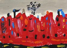 ORIGINAL ACEO City Landscape Outsider painting Mary Carol MCW  Naive ART ATC