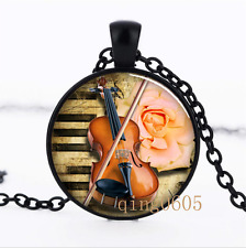 Violin Musical Instrument Glass Dome black Chain Pendant Necklace wholesale