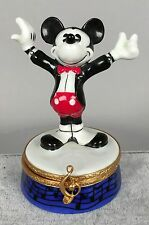 Artoria Mickey Mouse Conductor Trinket Box - Limoges France Disney LE 83 SIGNED