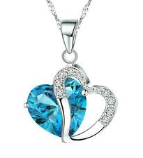 2015 Fashion NF Plating 925 Silver Crystal 2-Heart Necklace Pendant