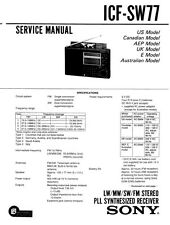 SONY ICF-SW77 SERVICE MANUAL ON A CD