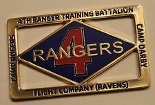 4th Rangers Training BN FLT Co Ravens Camp Rodgers Darby Army Challenge Coin