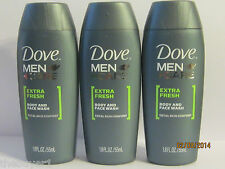 Lot of 3 Dove Men + Care Face and Body Wash -Extra Fresh 1.8 FL - *Travel Size*
