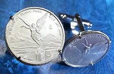 Mexican Victory Angel .999 Pure Silver Mexico 1/10 Onza Bullion Coin Cufflinks!!