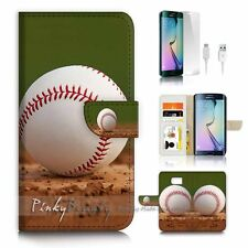 Samsung Galaxy ( S7 Edge ) Flip Wallet Case Cover P1300 Baseball