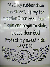 Protect my ride Prayer sticker for Hot rods, Gasser, Rat Rods