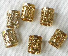 #1361A Vintage Filigree Beads Tube Connectors 8mm Spacer Bead Caps Metal Brass