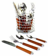 Stainless Steel with Natural Wood Design Handles 24-Piece Flatware Set