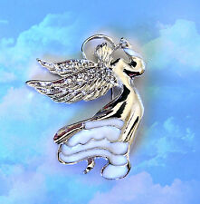CLEAR WHITE CRYSTAL GUARDIAN SILVER ANGEL WINGS ENAMEL BROOCH PIN CHRISTMAS GIFT