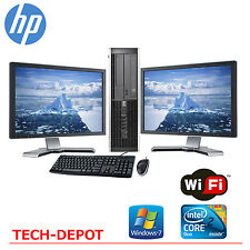 "HP Desktop PC Computer Core 2 Duo 4GB RAM DUAL 19"" LCD Monitor WIFI Windows 7"