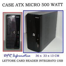 MINI CASE ATX CON ALIMENTATORE 500 WATT LETTORE CARD READER INTEGRATO MICRO 500W