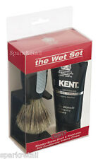 Kent THE WET SET Black Plastic Blended Bristle SHAVING BRUSH, STAND & CREAM