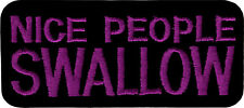 20183 Purple & Black Nice People Swallow Funny Embroidered Sew Iron On Patch