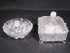 Higbee Glass EAPG Paneled Thistle Honey Dish Small footed Bowl Set of 2