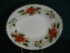 "Royal Albert Yuletide / Poinsettia Christmas 9"" Oval Vegetable Serving Bowl"