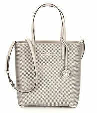 Michael Kors Hayley Cement Medium Tote Bag Perforated Sporty Leather $248 - NWT