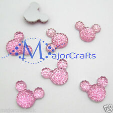 40pcs Light Pink 14mm Flat Back Mickey Minnie Mouse Head Resin Rhinestones Gems