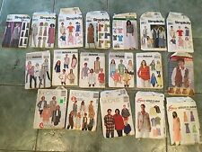 LOT (18) OF SIMPLICITY, BUTTERICK, McCALLS SEWING PATTERNS WOMENS LARGE, X-LARGE