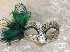 Green & Gold Special Design Peacock Feather Venetian Mardi Gras Masquerade Mask