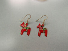 Scandinavian Swedish Dala Horse Earrings Hypo Allergenic Hooks #1997E