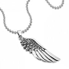 MENDINO Men's Women's Stainless Steel Pendant Necklace Feather Angel Wing Silver
