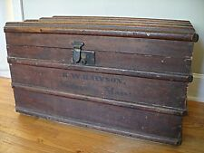 1800's Steamer Trunk Antique Rustic Wood Toolbox Storage Box Chest