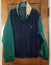 Mens Vtg 90s Nautica Color Block and Plaid Reversible Jacket Hidden Hood SZ XL