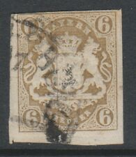 Germany (Bavaria) - 1867/9, 6k Pale Bistre - 3 Margins - Used - SG 41 (c)