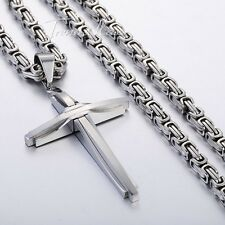 Men Chain Silver Black Gold Byzantine Box Stainless Steel Cross Pendant Necklace