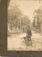 1904 image Columbia Motorbike bicycle Ridgewood Ave Daytona,Florida spanish moss