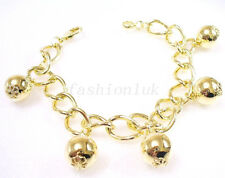 "14K Yellow Gold Plated Oriental Ball Charm Bracelet 8.5"" 21.5cm X'mas Birthday"