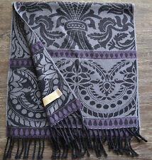 Anichini Verona Black, Purple & Grey Merino Wool Scarf - Made in Italy