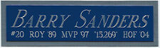 BARRY SANDERS LIONS NAMEPLATE AUTOGRAPHED Signed HELMET-JERSEY-FOOTBALL-PHOTO
