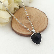 Retro Fashion Elegant Women Tibetan silver Heart-shaped Crystal Necklace black
