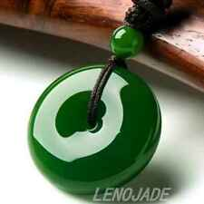 Natural Green Hand-carved Chinese Hetian Jade Jadeite Pendant -BI- Free Necklace