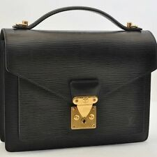 Authentic  Louis Vuitton Epi Monceau Hand Bag Briefcase Black M52122 #S2845