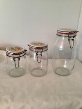 Vintage Corelle Corning Spice of Life Lids Clear Glass Canisters  - Set of 3