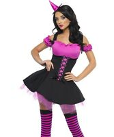 Halloween Ladies Wicked Witch Fancy Dress Costume Pink/Black New by Smiffys