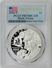 2016-P Mark Twain Silver Dollar Commemorative Proof Coin PR70DCAM First Strike