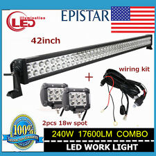 42'' 240W Spot Flood Led Light Bar Offroad SUV +  2PCS 18W Spot With Wiring Kit