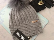 DESIGNER LADIES WOOLY HAT BEANIE WITH REAL FUR POMPOM BNWT
