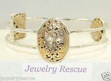 Silpada Romance Novel Bangle Bracelet .925 Sterling Silver Two Tone B2415 'Dec