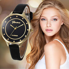 Geneva Fashion Women Casual Watch Leather Strap Quartz Analog Gold Wrist Watches