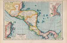 1920 MAP -POST WW1- CENTRAL AMERICA, INSET PANAMA
