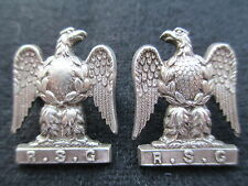 (2) Royal Scots Greys Silver Officer's Collar Badges. Hallmarked Birmingham 1919